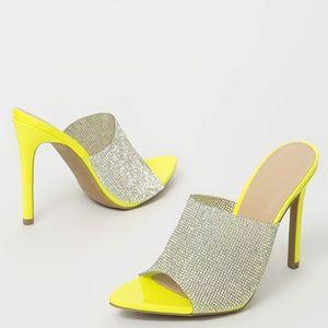 NEW🔥 Peep Toe Rhinestone Slip-on Mules Sandals